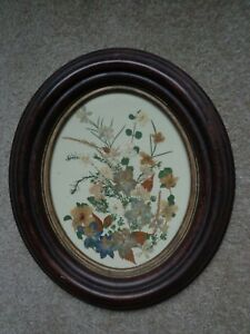 Antique Victorian Oval Walnut Deep Recess Picture Frame With Dried Flowers