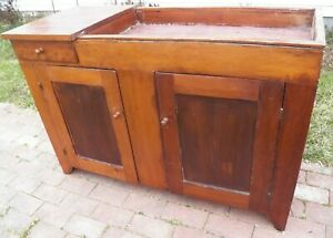 Primitive Dry Sink Cabinet Rustic Antique Cupboard With Drawer Pine Poplar