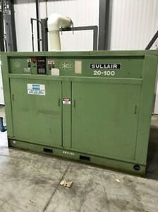 100 Hp 110 Psi 490 Scfm Sullair Rotary Screw Air Compressor Water Cooled