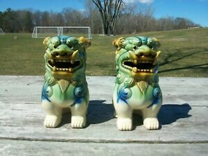 Vintage Pair Chinese Ceramic Temple Lion Foo Dogs Green Blue Unmarked 7 Tall Cl