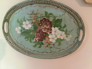 Vintage Toleware Hand Painted Green Metal Oval Tray Floral Fruit 18 X13