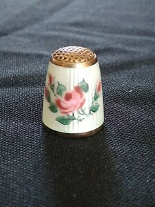 Antique Gold Over Sterling Silver Thimble White Enamel With Rose Flowers