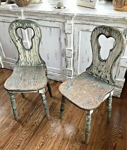 Antique Primitive Distressed Parlor Ice Cream Wooden Set Of Chairs