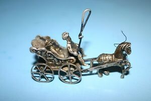 Beautiful Antique Miniature Sterling Silver Horsedrawn Wagon Carriage Figurine