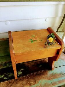 Vintage Antique Old Milking Stool Maple Wood With Berry Fruit Decal
