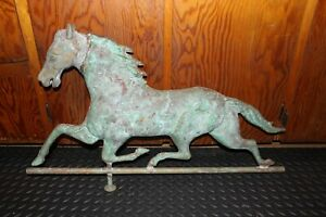 Vintage Weathervane By E C Washburn Huge Copper Horse With Cast Brass Head