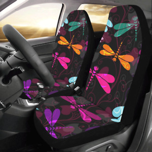 New Coming Dark Pattern With Colorful Dragonfly Car Seat Covers Set Of 2