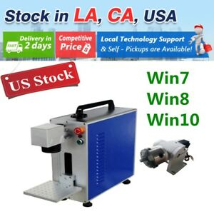 Usa 30w Portable Fiber Laser Marking And Engraving Machine Ratory Axis Included