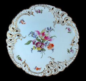 Rare Antique Hand Painted Flowers Nymphenburg Dresden Reticulated Cabinet Plate