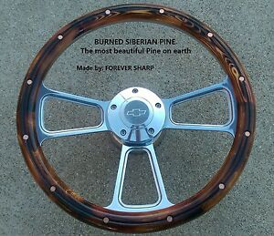 Burned Pine Steering Wheel W Boss 69 93 Chevy Gm Jeep Ididit Flaming Rivr Dodg
