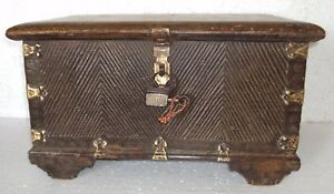 Old Wooden Handcrafted Wooden Box Brass Fitted Hand Craved With Vintage Lock