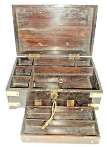 Old Wooden Handcrafted Box Brass Fitted With Lock And Key 8 Compartment