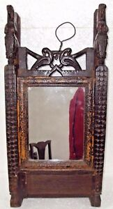 Old Indian Wooden Hand Crafted Dressing Mirror Frame With Drawer Hours Craving 6