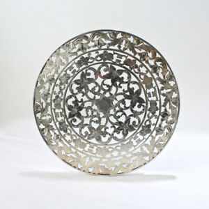 Large American Sterling Silver Overlay And Glass Trivet By Webster Sl
