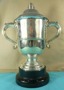 Superb Large Sterling Silver Trophy Cup Clean Acanthus Handles H Woodward 1912