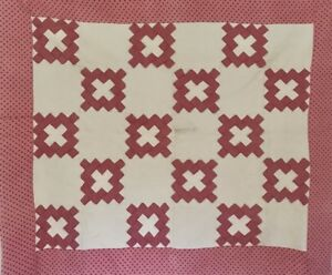 1940 S Antique Hand Pieced Hand Quilted Pink White Autograph Design Quilt