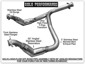 Solo Performance High Flow Catless Crossover Ford F150 Ecoboost V6 Off Road Only