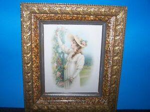 Antique Victorian Gold Gilted Ivy Grapes Marble Wooden Frame W Inez Warry Print