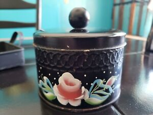 Cute Vintage Hand Painted Tole Ware Toleware Can W Lid Rose Design Raised Relief