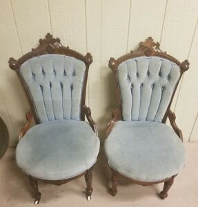 2 Antique Carved Victorian Eastlake Walnut Parlor Chairs Pale Blue Upholstery