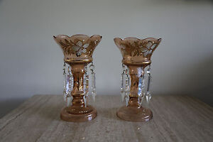 Pair Of Antique Mantle Lusters Of Pink Luster Hand Painted Glass W Prisms 45