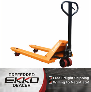Ekko A20 Manual Pallet Jack Lift 4400lb Heavy Duty Poly Wheels 3 Year Warranty