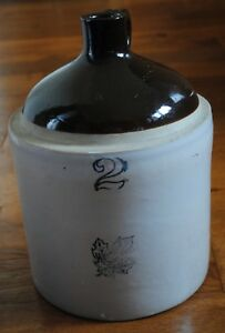 Vintage 2 Gallon Western Stoneware Brown Cream Glazed Stoneware Jug 12 Tall