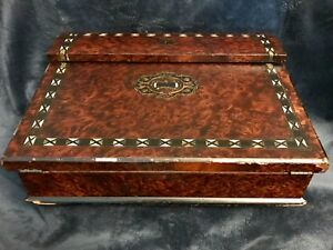 Antique Writing Travel Lap Desk Letter Box Inlaid Burl Wood Double Ink Wells