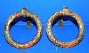 2 Antique Vtg Victorian Curtain Rod Bracket Tie Backs Polychrome Paint Iron Ring