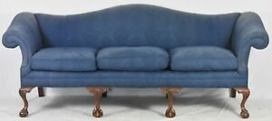 Mahogany Chippendale Style Camel Back Sofa Claw Ball Feet Blue Damask Fabric