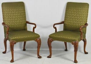 Pair Of Solid Mahogany Chippendale Carved Chairs Silk Sage Green Damask Fabric