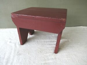 Antique Foot Stool Vintage Pine Wood Bench Footstool 14 Red Paint