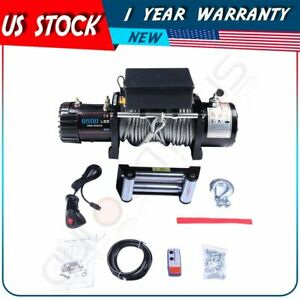 9500lbs 4wd Off road Electric Recovery Winch Steel Rope Remote Control For Jeep