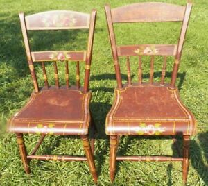 Set 2 Antique Plank Seat Decorated Chairs 1 2 Spindle Backs Brown With Flowers