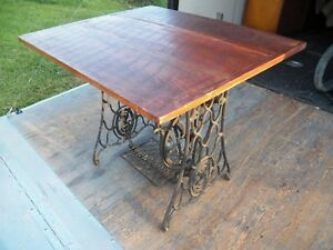 Antique Cast Iron Barnwood Dining Table Desk Treadle Base Industrial Steampunk