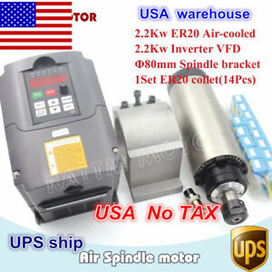 us 2 2kw Er20 Air Cooled Spindle Motor 400hz vfd Inverter Cnc 80mm Clamp collet