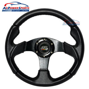 Black Pvc Leather Steering Wheel Horn Button Mugen Universal Fit 32cm 12 6inch