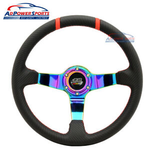 Carbon Fiber Jdm 6 Holes Steering Wheel Pvc Leather Trunk 3 Spoke Mugen Horn