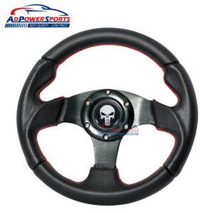280mm Universal Fit Steering Wheel Red Stitch Black Leather Spoke Punisher Horn