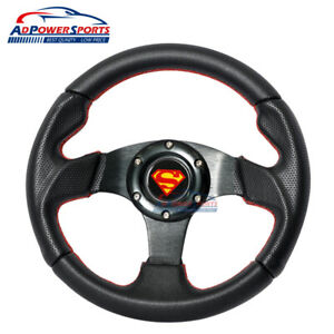 28cm Superman 3 Spoke Steering Wheel Pvc Leather Red Stitch horn Universal Fit