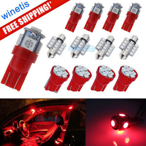 13x Red Car Led Lights Interior Package Kit For Dome License Plate Lamp Bulbs