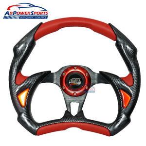 32cm 12 6inch Mugen Steering Wheel Black Carbon Red Pvc Leather Battle Type Look