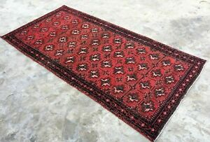 Vintage Persian Area Rug Bukhara 3 2 X6 3 Hand Knotted 100 Wool Pile Carpet
