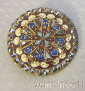 19c Antique French Multicolor Enamel Cut Steel Button 37mm Large