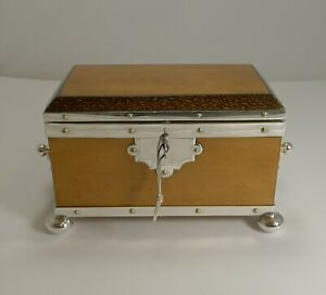 Rare Silver Plated Mounted Birdseye Maple And Palm Wood Tea Caddy C 1890