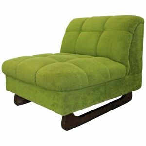 Mid Century Modern Adrian Pearsall Style Green Sculpted Leg Slipper Chair