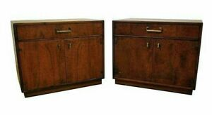 Mid Century Danish Modern Milo Baughman Founders Walnut Nightstands
