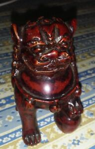 Chinese Wood Hand Carved Fengshui Foo Dog Lion Statue 3 Red