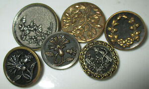 Lot 6 Medium Size Antique Victorian Era Mixed Metal Flower Buttons