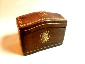 Antique Italian Florence Italy Tooled Gilt Leather Playing Card Case